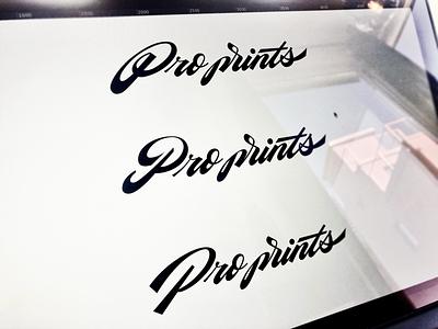 Pro prints handtype identity graphicdesign design type lettering sophisticated classy vintage timeless unique proprints braning logodesign logomaker logo custom calligraphy script