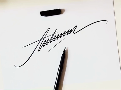 Autumn fun unique letters art logodesign logomaker handlettering video process autumn type logo custom calligraphy flow lettering