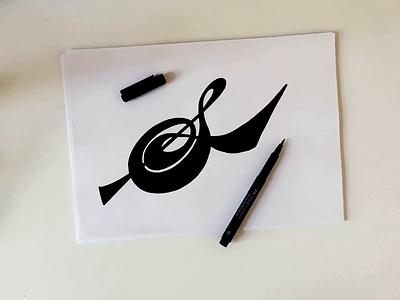 S iconic wordmark branding handwritten script classy vintage flow brushlettering type alphabet lettering video process illustration design logo custom calligraphy