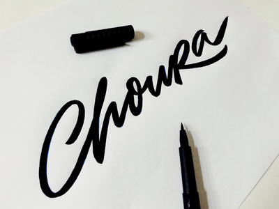 ChouRa handcrafted process sketching unique handwritten brushlettering choura type custom lettering design logo calligraphy script flow