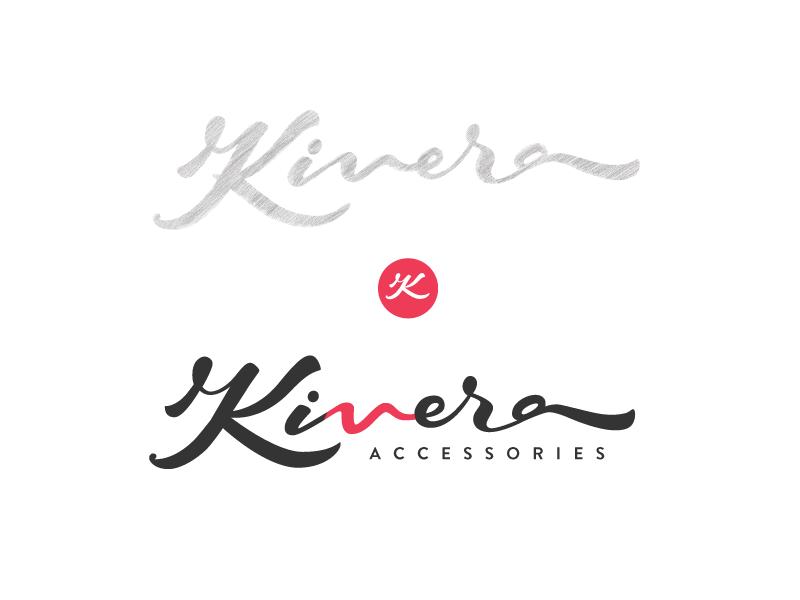 Kivera process calligraphy handtype flow branding logo type script accessories fashion kivera