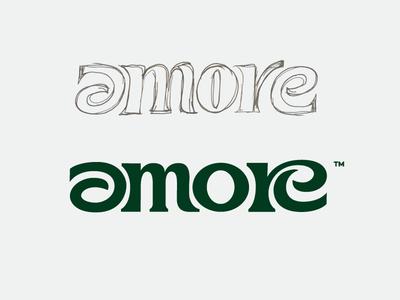 amore branding typography custom type script love lettering amore