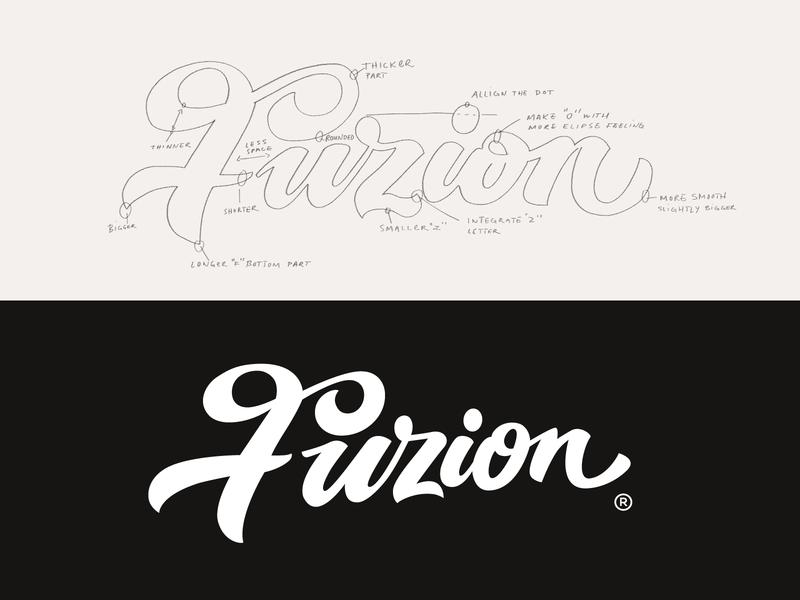 Fuzion fuzion illustration lettering unique brush studio handwritten graphic design process custom flow typography branding logo calligraphy script type