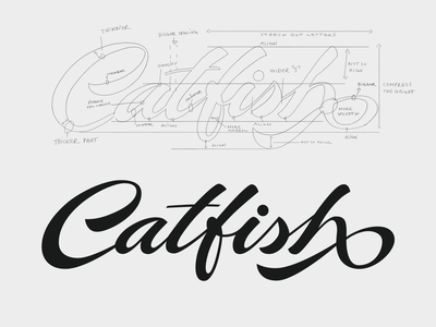 Catfish howto vector catfish unique logolearn brush brand flow typography handwritten branding process logo script type calligraphy custom lettering