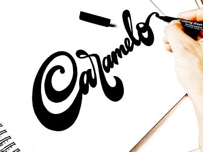 Caramelo logodesigner handwritten flow branding scripts unique process sketch goodtype brush idea packaging logo type script design illustration custom calligraphy lettering