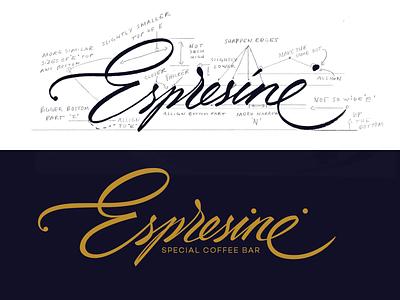 Espresinė (cafeteria) logo designer espresinė caffee goodtype logolearn script font brand identity handtype logo design brush handwritten process branding sketch custom calligraphy script flow lettering logo