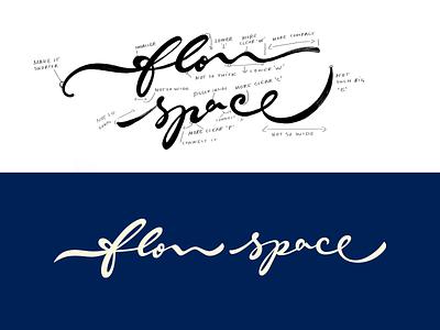 flow space brand design logolearn yoga fashion idea script goodtype space design brush typography handwritten unique branding sketch custom calligraphy flow process logo