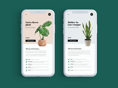 Mobile UI for Houseplant Store product design houseplants plant mobile webdesign web ux ui design