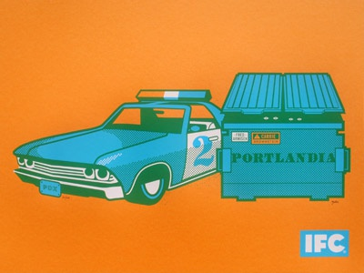 Portlandia  portlandia poster screenprinted promo tv independent film channel dumpster dumpster diving cop