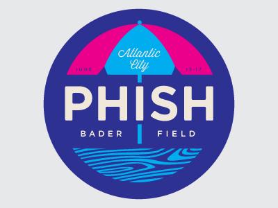 Bader Field phish logo atlantic city umbrella boardwalk new jersey wood grain summer tour bader field