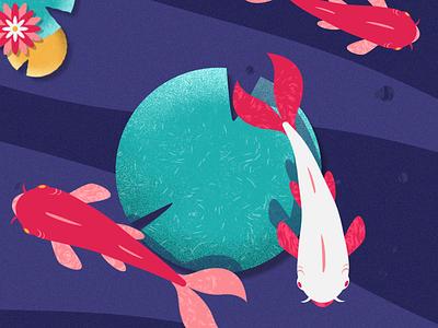 Nishikigoi motion art vector illustration design 2d motion