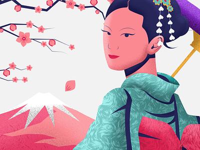 Japanese Woman branding vector illustration design 2d motion