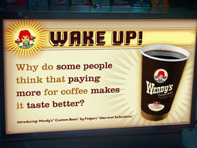 Wendy's Coffee In-store POS pos signage advertising branding graphic design design packaging design