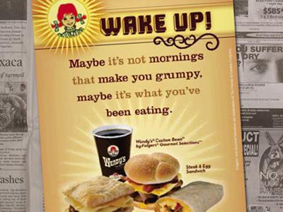 Wendy's breakfast newspaper insert advertising branding graphic design design packaging design