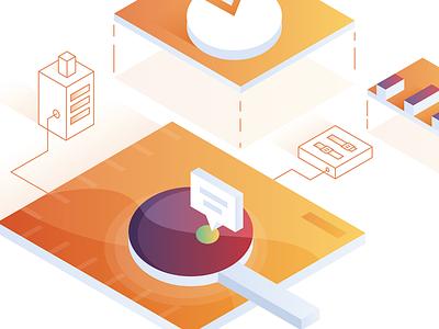 Insights isometric gradients social media graphic design illustration