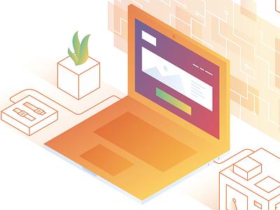 Security isometric gradients social media graphic design illustration