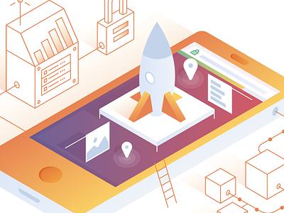 Performance isometric gradients social media graphic design illustration