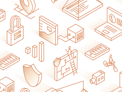 Cloudflare Pattern Environment icons perspective seamless pattern illustration