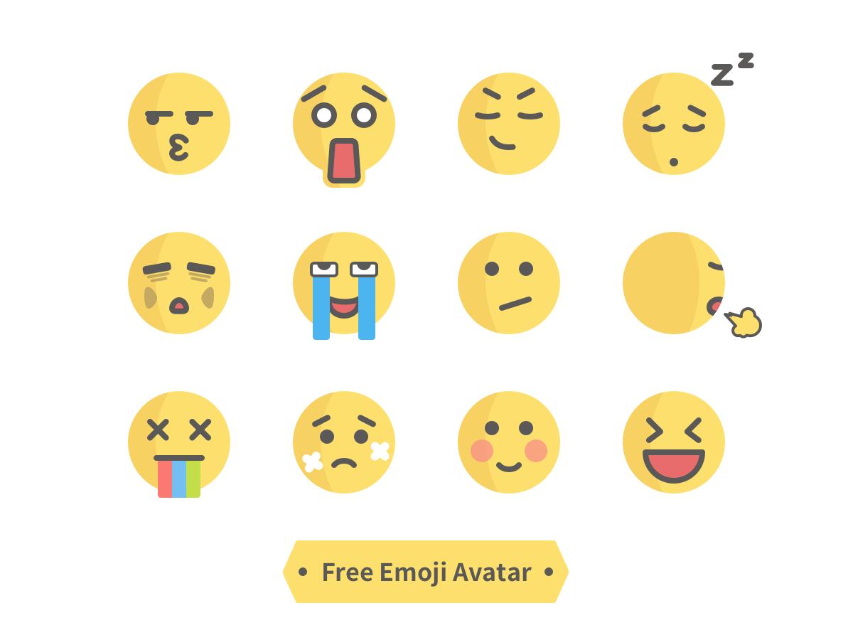 Free Emoji Avatar flat design emoji set emoji cute head charachter design illustration sticker icon profile expression free face avatar
