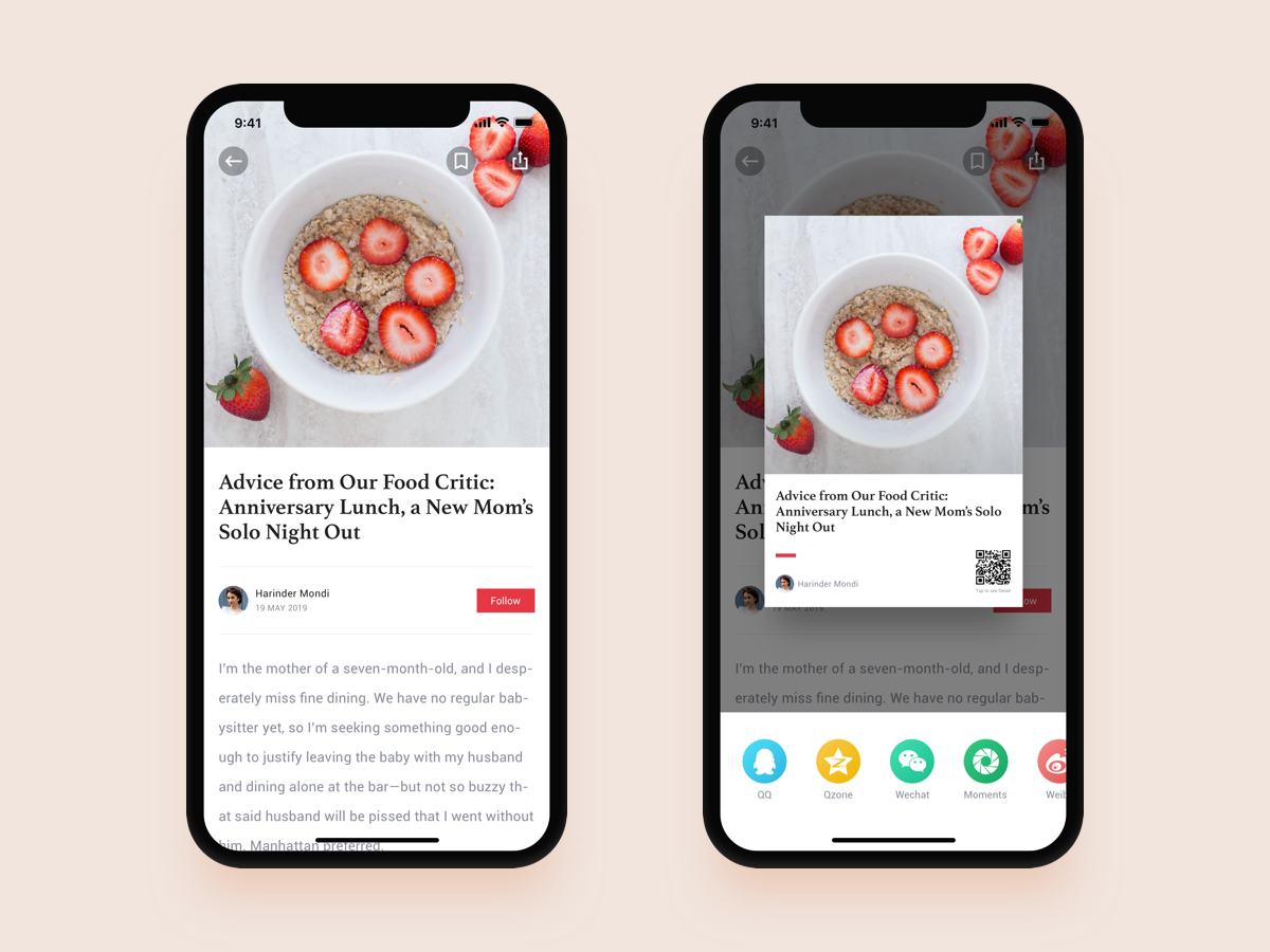 UX | News Card Sharing qrcode iphonex icon font beautiful layoutdesign popups toolbar bookmark follow mask card share button article page userexperiance user center design ux  ui food app news app reading app
