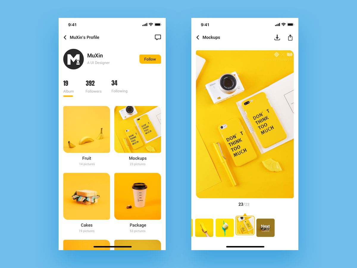 UX | Next Album icon app ux challenge next minimal app iphonex iphone 10 yellow user account user center design image background mockups browse profile design download app share button followers follow ui  ux image gallery gallery