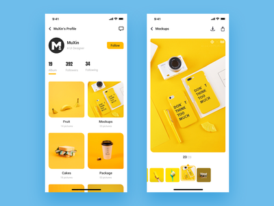 UX   Next Album icon app ux challenge next minimal app iphonex iphone 10 yellow user account user center design image background mockups browse profile design download app share button followers follow ui  ux image gallery gallery