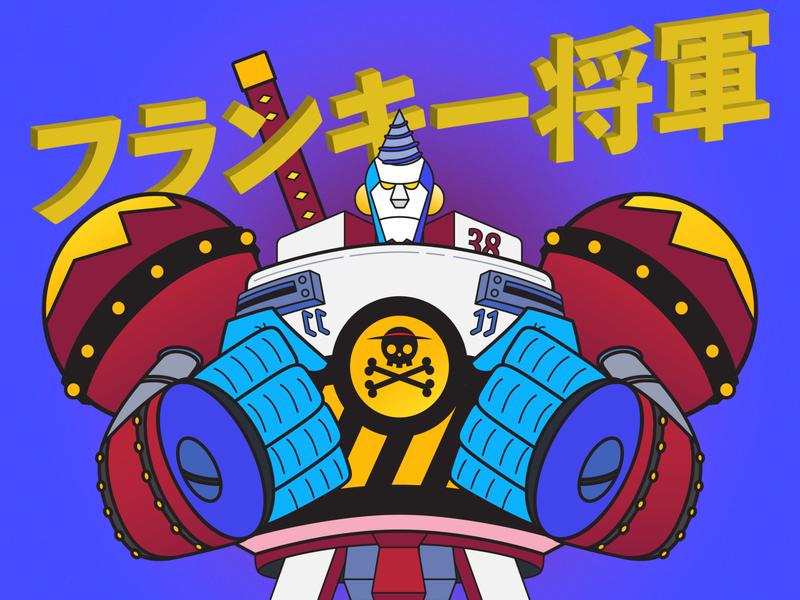 General Franky cyborg onepiece digital illustration illustration
