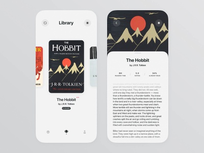Readbook book mobile ios e-commerce apple user interface app digital design concept typography ux ui