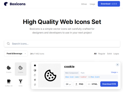 Boxicons - 1462 free icon set ui icon app iconset icons freebie