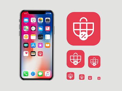 Vatreena App Icon basket cart illustration golden ratio discount golden section logo designer app logo