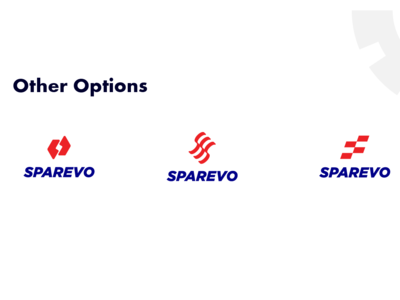 Sparevo Logo Options blue red identity s logo s tyre logo designer app logo