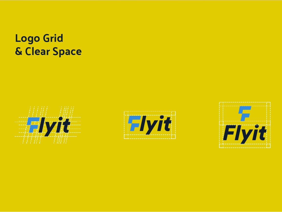 Flyit Grid & clear space شعار مصمم شعارات لوقو لوجو arrow bird fly f logo blue logo
