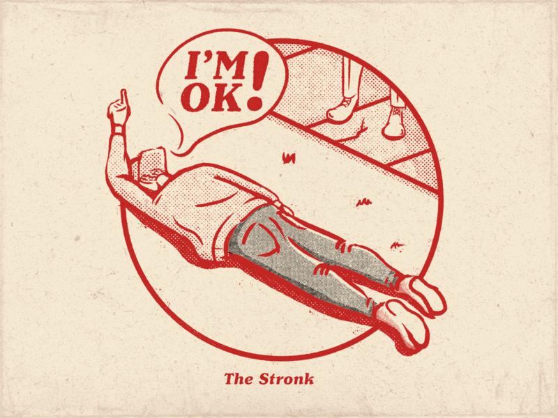 I'M OK! - Really! texture retro design retro vintage badge design flat comic art halftone