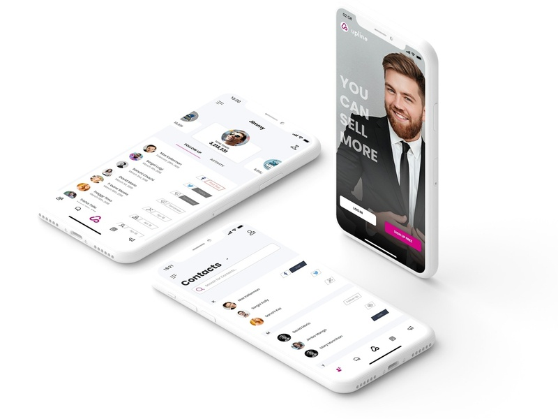 Three Phone Layout mockup clean sales team crm upline.app upline
