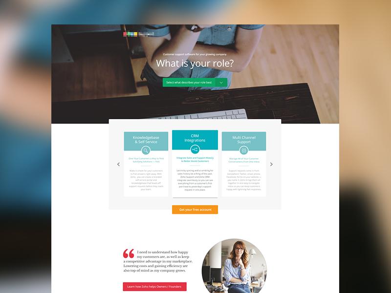 Customer support landing page marketing web web design simple clean hero landing website