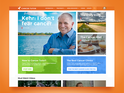 Cancer Tutor Website - Home natural content heavy landing grid orange cancer website design ux ui