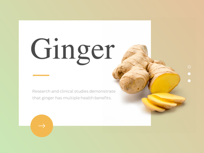 Ginger call to action simple clean natural supplements typography website web design ui