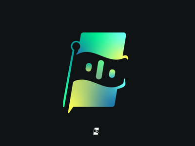 Negative Space Flag Logo / Weekly Warmup #001 logo icon gradient negative space flag design photoshop vector illustrator