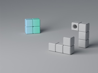 Modular system colorful grey cube blocks illustration web site modular system