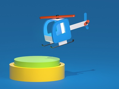 Helicopter 3d art 3d c4d illustration web sites business kids toy helicopter