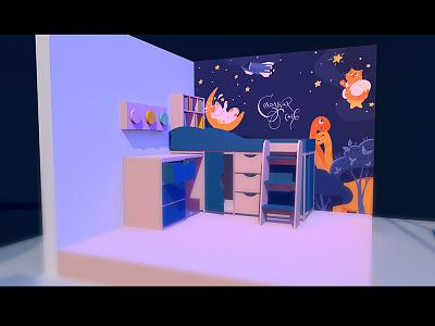 Childhood materials rocket car dreams space childhood child c4d