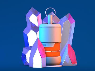 Crystals & grenade c4d 3d colorful grenade crystals sci fi