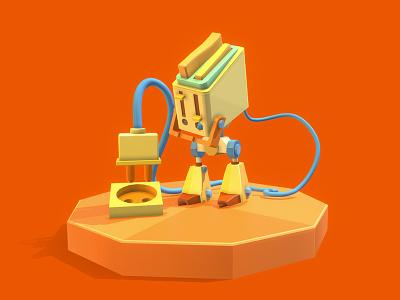 Toaster robot robot cartoon colorful c4d 3d art 3d concept art draft