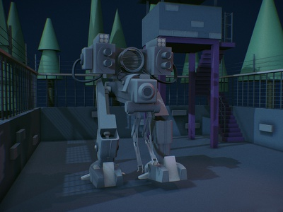Special purpose robot game war military robot concept art c4d 3d draft