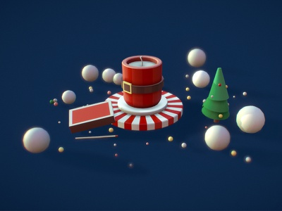 New Year candle new year candle concept art illustration c4d 3d