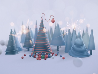 New year tree merry christmas nature winter colorful illustration c4d 3d