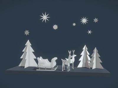 Santa Claus sleigh merry christmas ny deer paper cartoon sleigh illustration c4d 3d