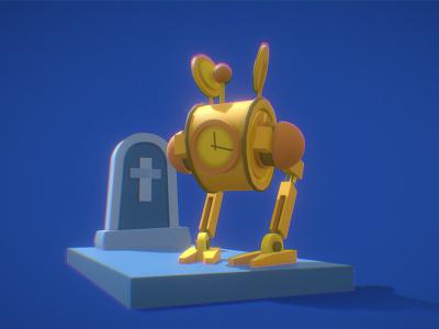 Crazy clock robot at cemetery hard surface games robot cemetery clock illustration c4d 3d