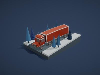 NY truck merry christmas auto blue red truck ny illustration c4d 3d