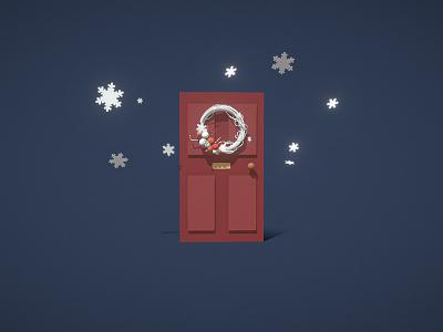 Christmas Wreath merry christmas snowflakes wreath door 3d art draft christmas c4d 3d